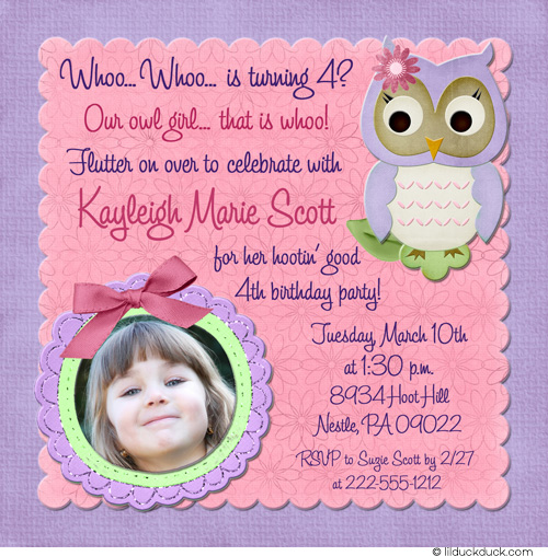 1 birthday invitation quotes ; Owl-birthday-Purple-Pink-Flower-photo-invitation-seafoam