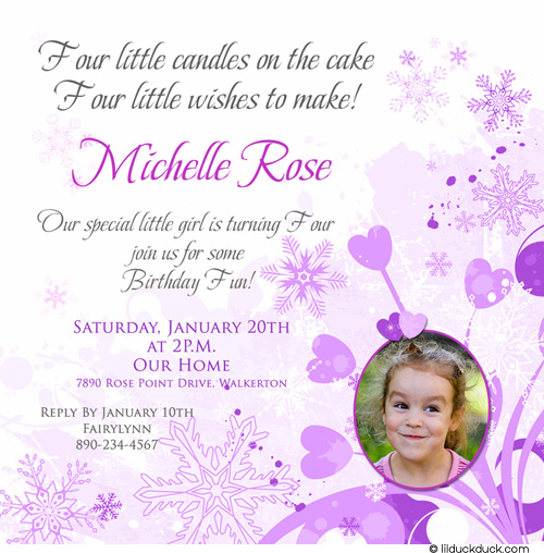 1 birthday invitation quotes ; Snowflake-Wishes-Birthday-Purple-Girl-1-photo-invitation