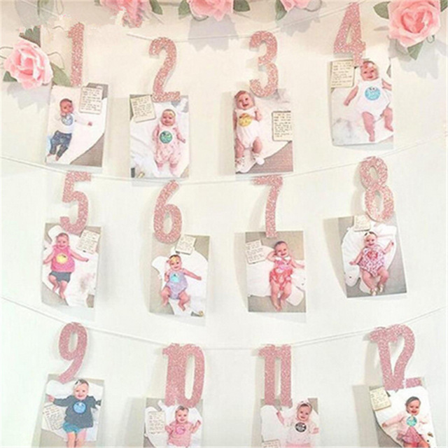 1 year birthday banner ; Baby-Girl-Boy-One-Year-Old-First-Birthday-Decorations-Gold-Pink-1-16-Month-Photo-Bunting