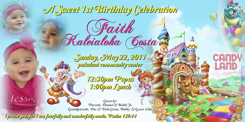 1 year birthday banner ; sample-4in-x-8in-candyland-invitation-faith