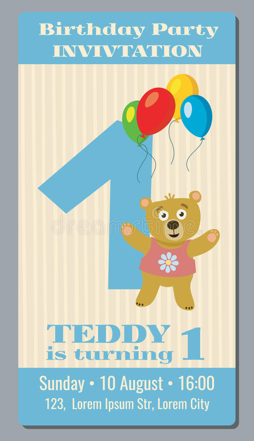 1 year birthday poster ; birthday-party-invitation-card-cute-bear-vector-template-year-old-to-first-illustration-banner-75225550
