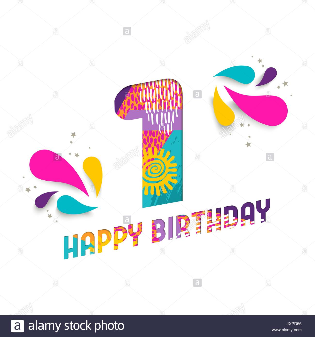 1 year birthday poster ; happy-birthday-one-1-year-fun-paper-cut-number-and-text-label-design-JXPD56