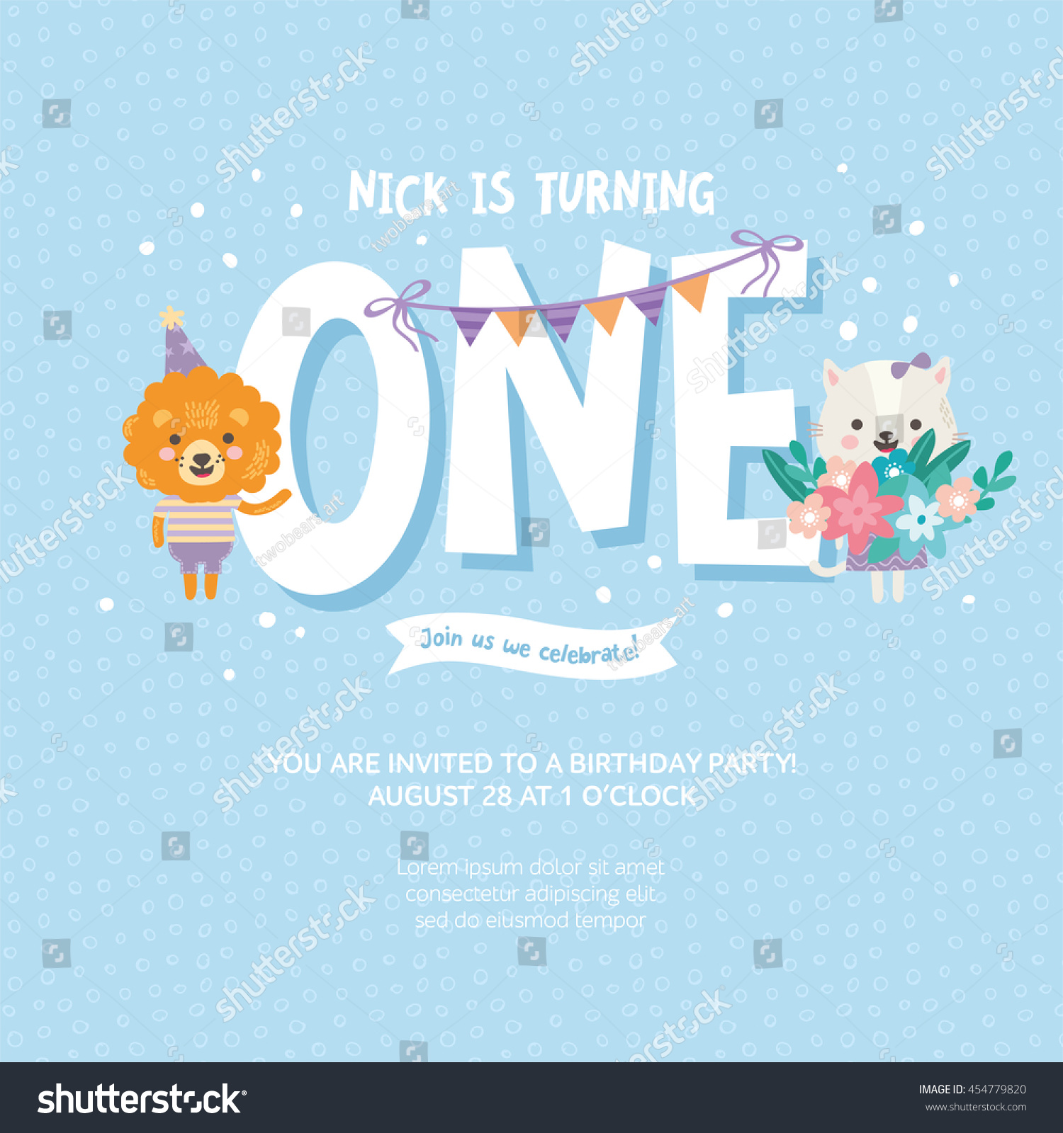1 year birthday poster ; stock-vector-greeting-card-design-with-cute-lion-and-cat-happy-birthday-invitation-template-for-one-year-old-454779820