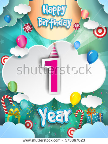 1 year birthday poster ; stock-vector-one-year-birthday-celebration-design-for-greeting-cards-and-poster-with-clouds-and-gift-box-575897623