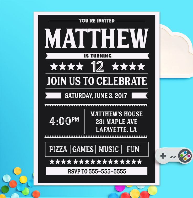 10 Year Old Boy Birthday Invitations 12 Party