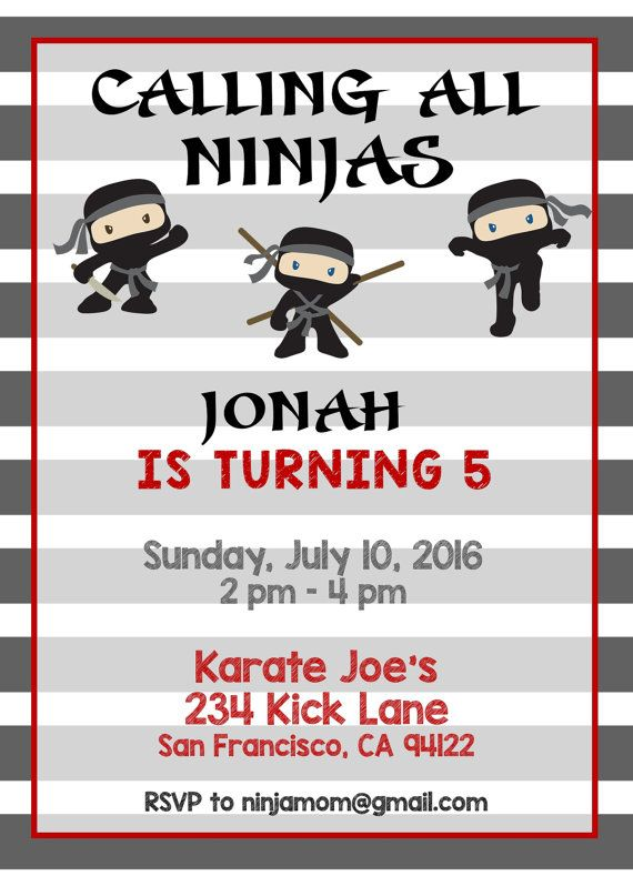 10 year old boy birthday invitations ; ninja-birthday-party-invitations-best-25-ninja-birthday-ideas-on-pinterest-ninja-party-ninja