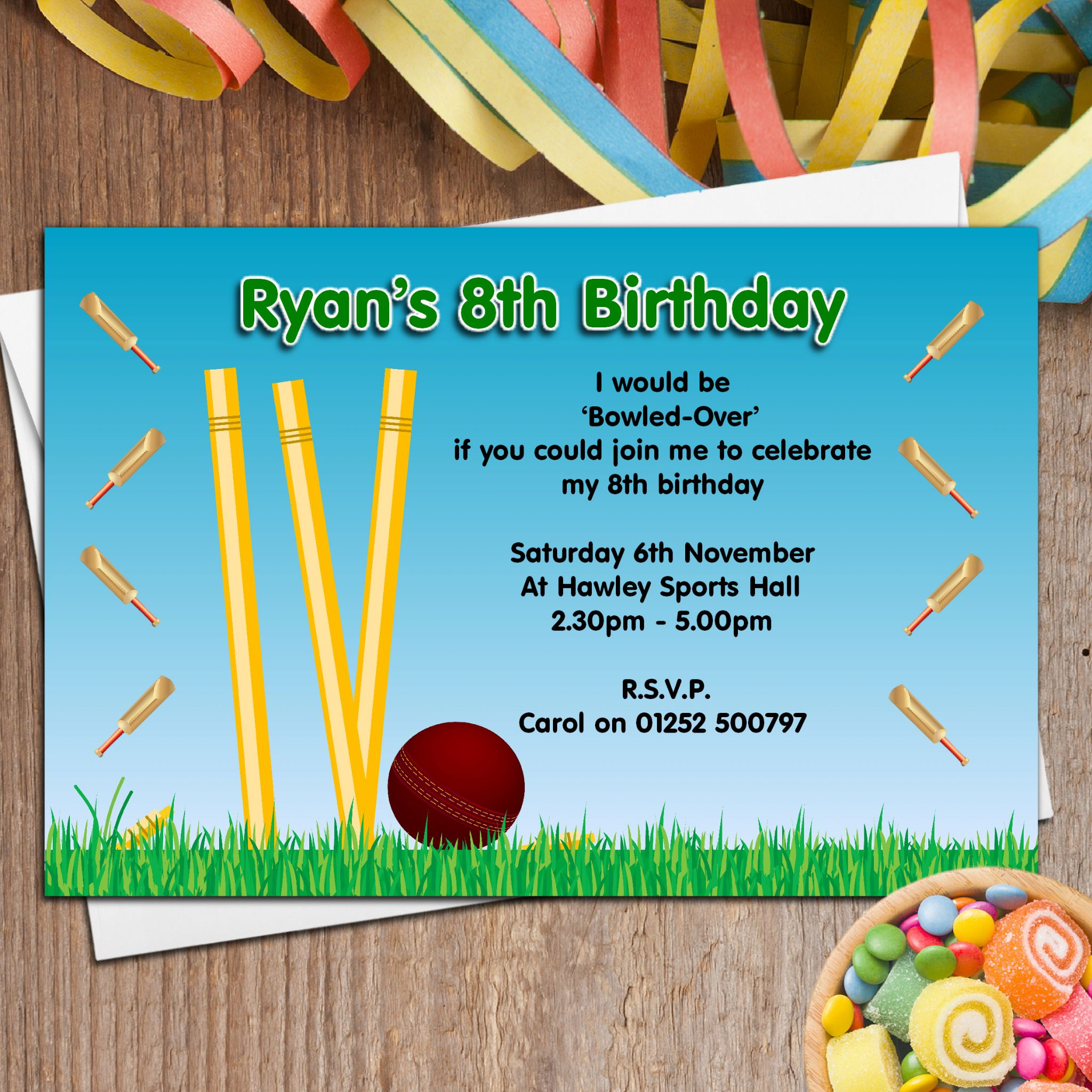 10 years birthday invitation cards ; 10-personalised-cricket-birthday-party-invitations-n46-1667-p