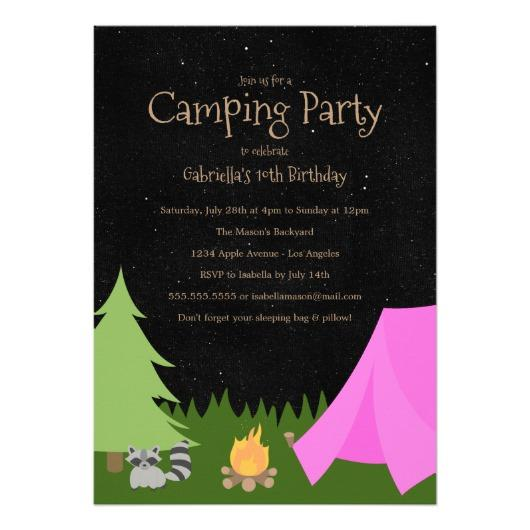 10th birthday party invitations ; girls_camping_party_birthday_party_invitation-reb99fd73474847e0b5167a538cfe7898_zkrqe_530