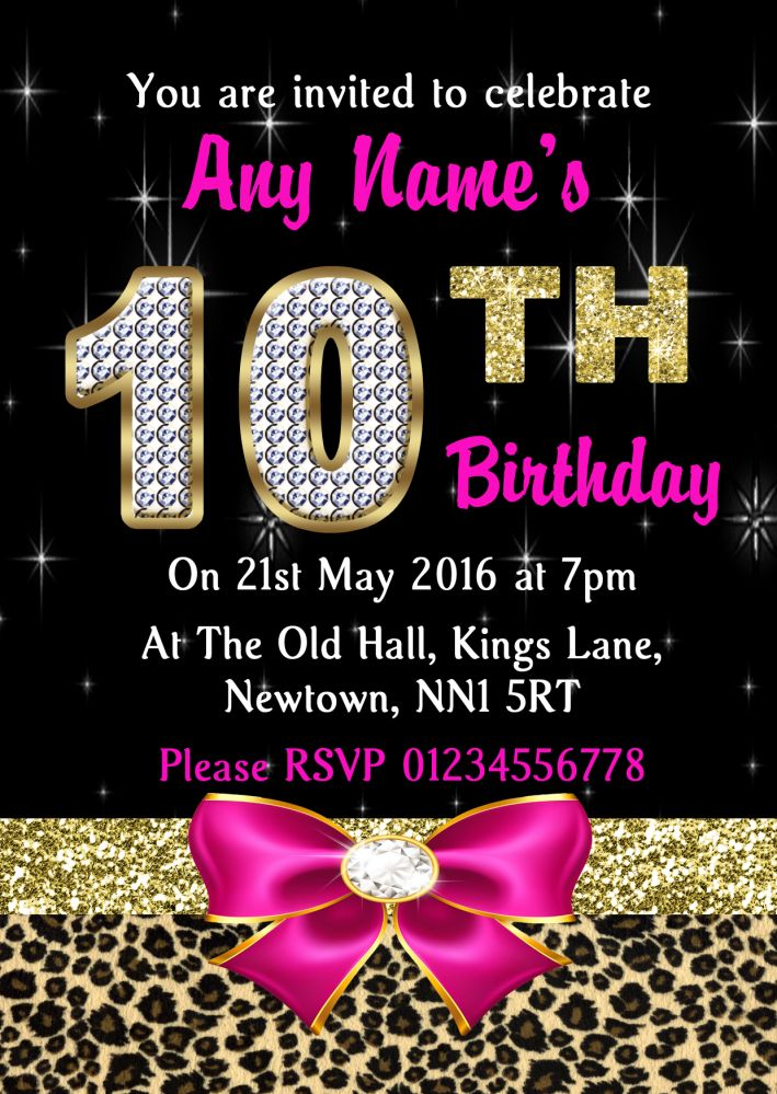 10th birthday party invitations ; pink-diamond-and-leopard-print-10th-birthday-party-invitations-199952-p
