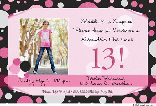 13 year old birthday invitations free printable ; hot-pink-black-polka-13th-birthday-invite