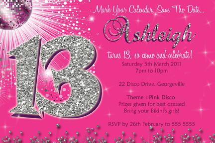 13 year old birthday invitations free printable ; thirteen