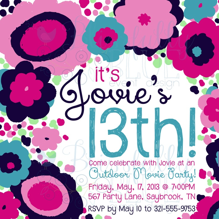 13 year old birthday invitations free printable ; thirteen1