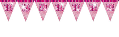 13th birthday banners ; 13th-birthday-pink-flag-banner-DAZPFLAG13_ps20