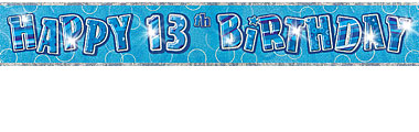 13th birthday banners ; blue-13th-birthday-banner-12ft-each--4156-p