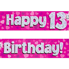 13th birthday banners ; pink-age-13-banner-big