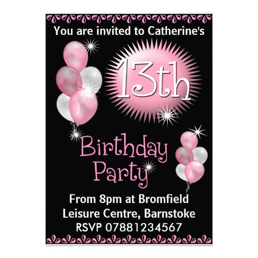 13th birthday invitations ; 3e44e0020d2a5d6d34ca0d26f97573be