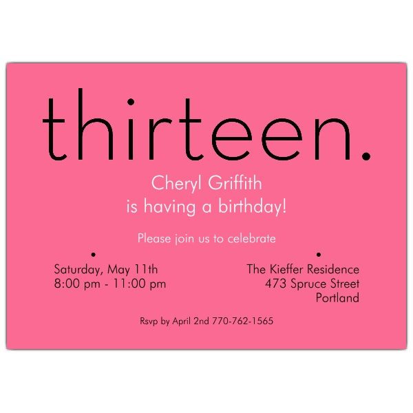 13th birthday invitations ; 610-75-285P-z