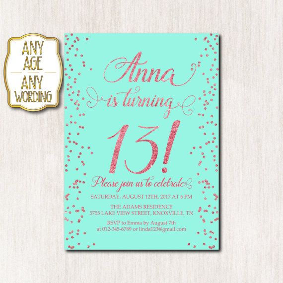 13th birthday invitations ; a578538eb08c814dd8b355f542f0c011--teen-birthday-invitations-th-birthday