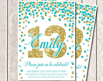 13th birthday invitations ; il_340x270