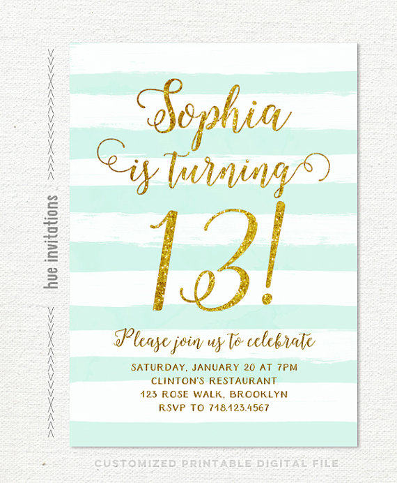 13th birthday invitations ; il_570xN
