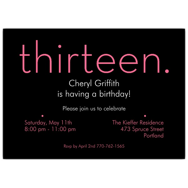 13th birthday invitations ; thirteen-Pink-on-Black-13th-Birthday-Invitations-p-610-75-285PK-z