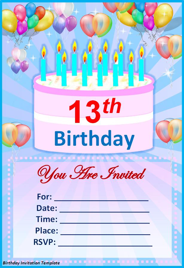 13th birthday invitations printable ; 21st-birthday-card-invitation-designs-birthday-invitation-template