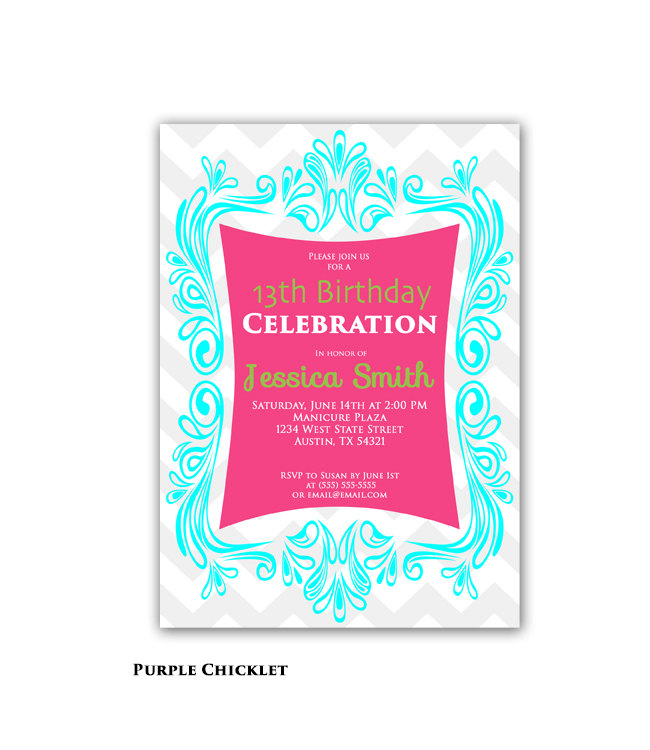 13th birthday invitations printable ; il_fullxfull
