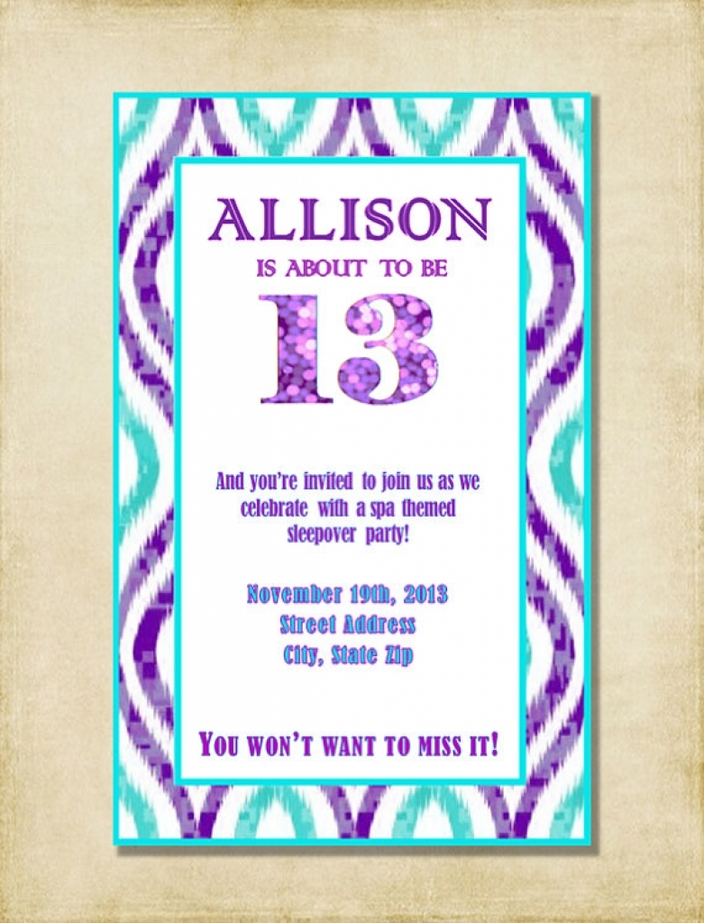 13th birthday party invitations ; girl_13th_birthday_party_invitation_purple_aqua_throughout_brilliant_and_to_charming_13_birthday_invitations_intended_as_creativity_8