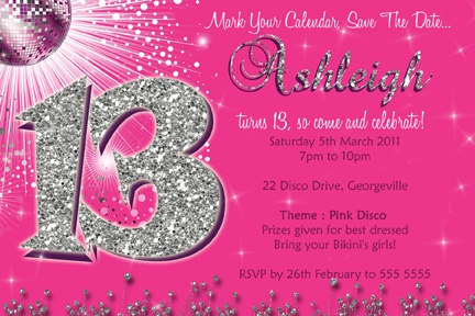 13th Birthday Party Invitations Templates Free As