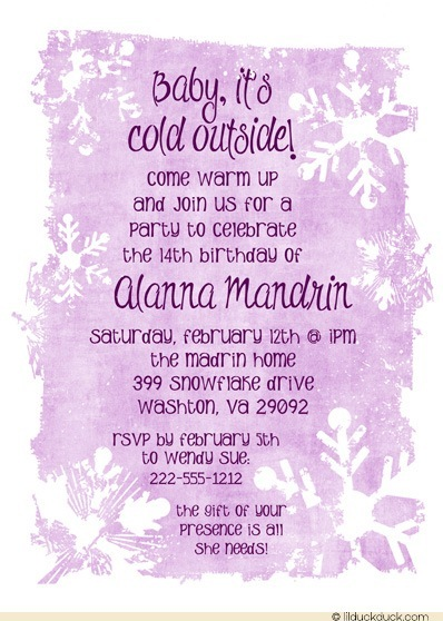 14th birthday invitation templates ; winter-snowflake-14th-birthday-invitation-purple-script-pure-white