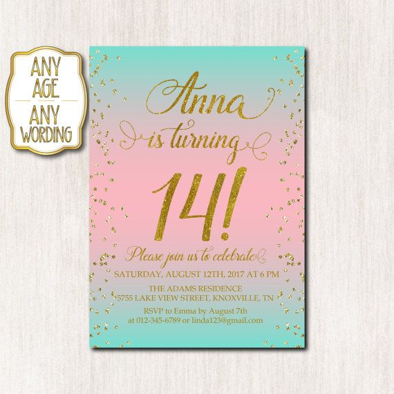14th birthday invitations ; 5e31d40108641a6beeac925e8efc5fc1--teen-birthday-invitations-th-birthday