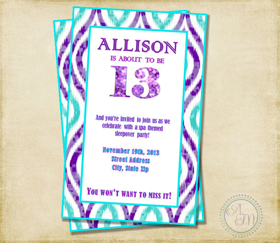 14th birthday invitations ; il_570xN