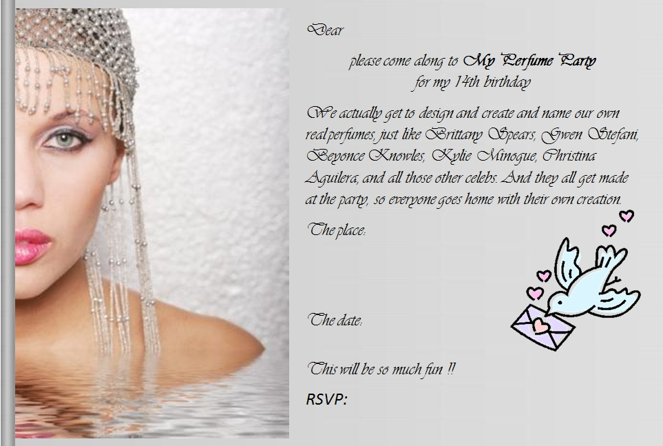 14th birthday invitations ; invite14-MyPerfumePartyFace
