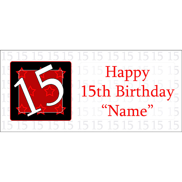 15th birthday banner ; 15-year-old-banner