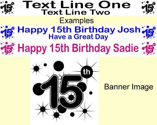 15th birthday banner ; 15th%2520Birthday%2520Personalised%2520Banner%2520stars%2520and%2520circles