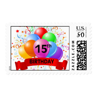 15th birthday banner ; 15th_birthday_banner_balloons_postage-r2a8870962abc4a96942cca48abd82b21_eqlls_8byvr_324