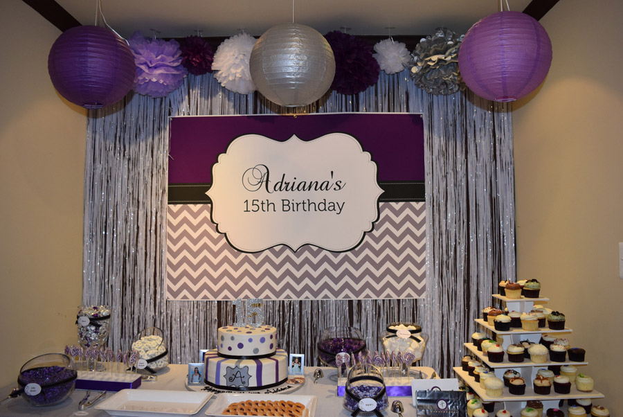 15th birthday banner ; Adriana-purple-backdrop2