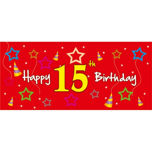 15th birthday banner ; M-309-500x500