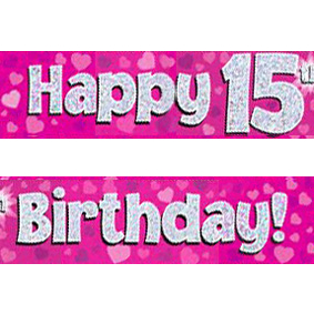 15th birthday banner ; pink-age-15-banner-big