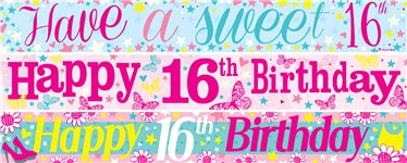 16th birthday banners ; 1