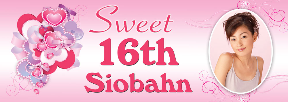 16th birthday banners ; TNB5-Sweet-16-Hearts-Ribbons