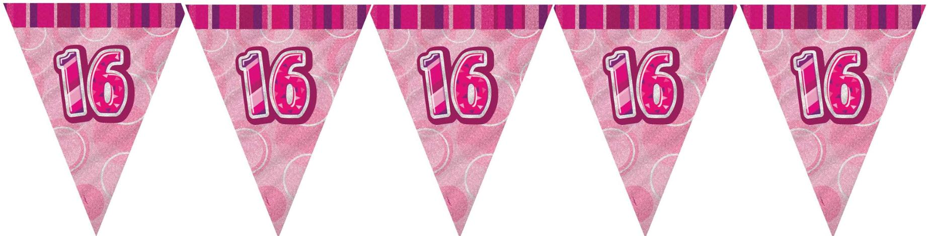 16th birthday banners ; pink-glitz-16th-birthday-flag-banner-965-p
