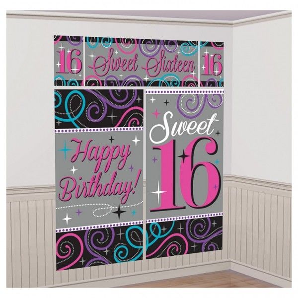 16th birthday banners ; sweet-16-16th-birthday-room-decoration-wall-banners-posters-scene-setter-1031-p