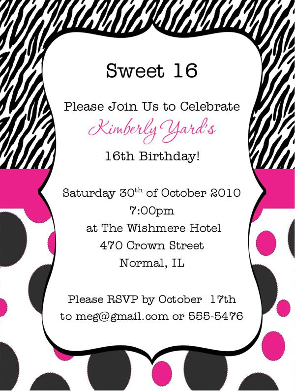 16th Birthday Invitation Templates Free Party Wording