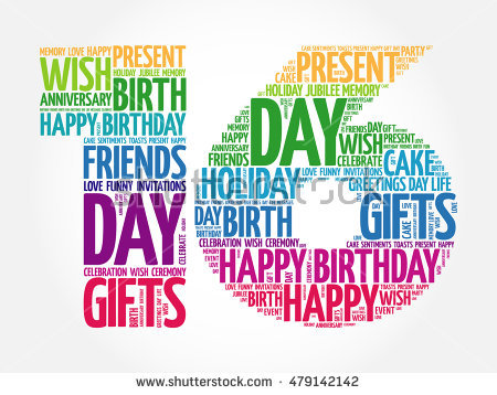 16th birthday poster ; stock-vector-happy-th-birthday-word-cloud-collage-concept-479142142