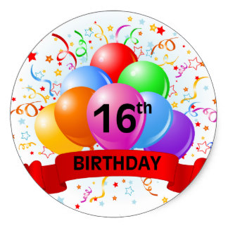 16th birthday stickers ; 16th_birthday_banner_balloons_classic_round_sticker-ra47b094bb23e440384fbcea4a368beaa_v9wth_8byvr_324
