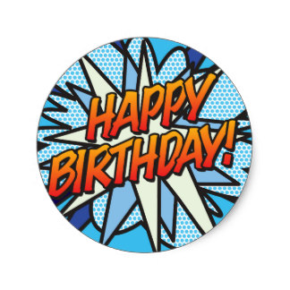 16th birthday stickers ; comic_book_pop_art_happy_birthday_classic_round_sticker-r142ef5e14aa74937abb5bf0375600ce6_v9waf_8byvr_324