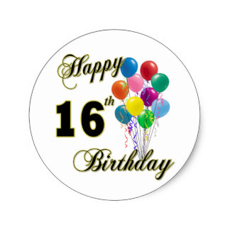 16th birthday stickers ; happy_16th_birthday_gifts_and_birthday_apparel_classic_round_sticker-rf8f77048cdea44fca4c3847b5a69e107_v9waf_8byvr_324