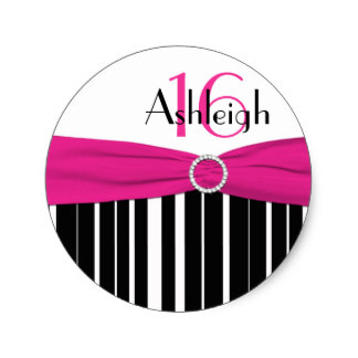 16th birthday stickers ; pink_black_white_striped_16th_birthday_sticker-r74ab50d455994456b0a783dccf1be537_v9waf_8byvr_324