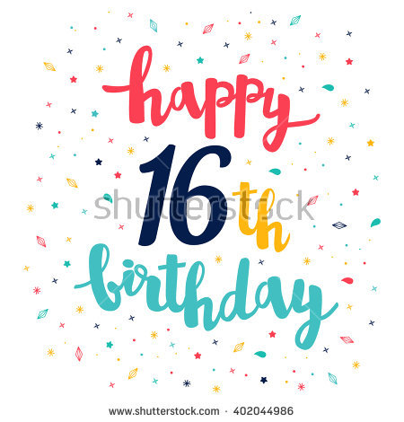 16th birthday wallpaper ; stock-vector-happy-th-birthday-greeting-card-cute-pattern-calligraphy-lettering-402044986
